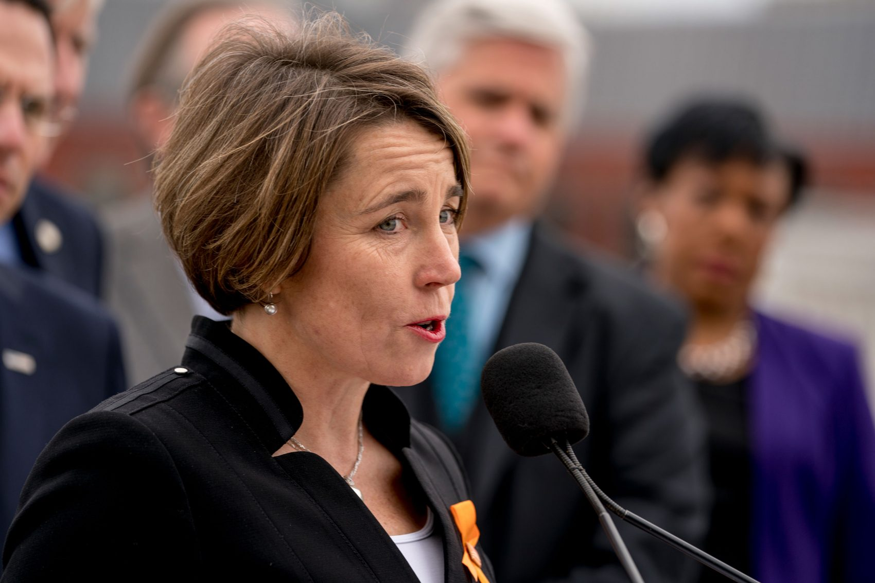 Massachusetts Attorney General Maura Healey speaks at a news conference near the White House on Feb. 26. (Andrew Harnik/AP)