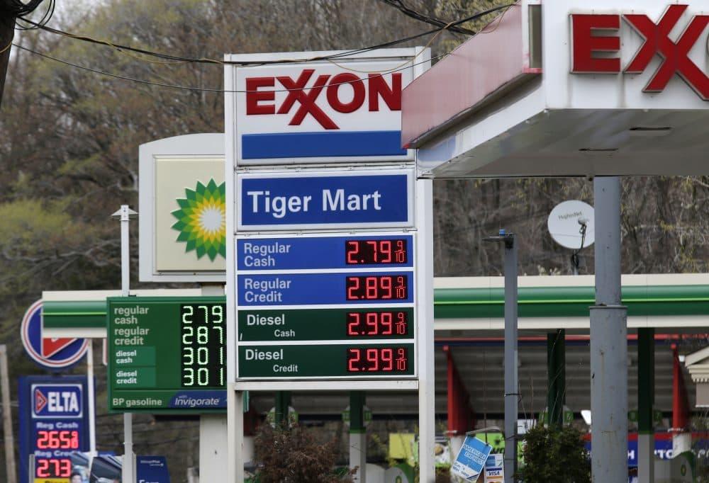 Gas stations display the price of gasoline in Englewood, N.J., Monday, April 30, 2018. (Seth Wenig/AP)