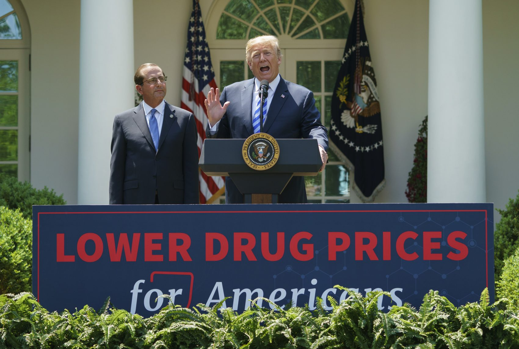 President Donald Trump speaks during an event about prescription drug prices with Health and Human Services Secretary Alex Azar in the Rose Garden of the White House in Washington, Friday, May 11, 2018. (Carolyn Kaster/AP)