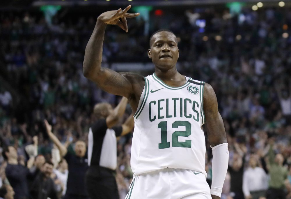 Boston Celtics guard Terry Rozier gestures after sinking a 3-point shot during the second half in Game 2 of the team's NBA basketball Eastern Conference finals against the Cleveland Cavaliers, Tuesday, May 15, 2018, in Boston. (Charles Krupa/AP)