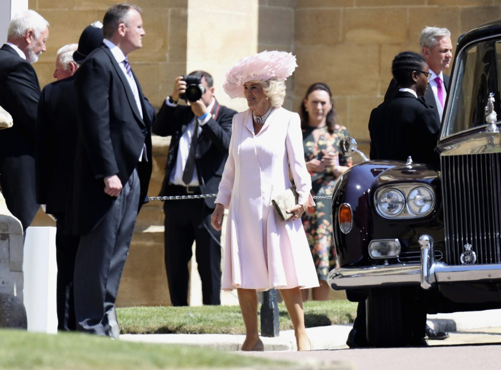 Camilla, the Duchess of Cornwall arrives for the wedding of Prince Harry to Meghan Markle, at St. George's Chapel in Windsor Castle in Windsor, near London, England, Saturday, May 19, 2018. (Chris Jackson/AP)