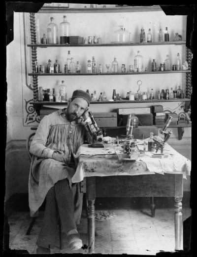 A self-portrait of Santiago Ramón y Cajal taken around 1885. (Courtesy of MIT Museum)