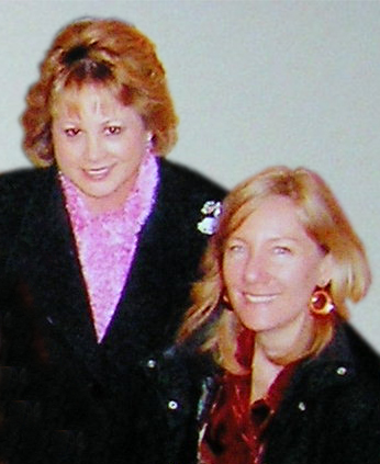 Darcie, left, wearing a brooch, is pictured with the author in 2006. (Courtesy)