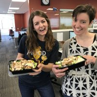 Allison and Anna of On Point with their salads.  (Jeremy Rellosa/WBUR)