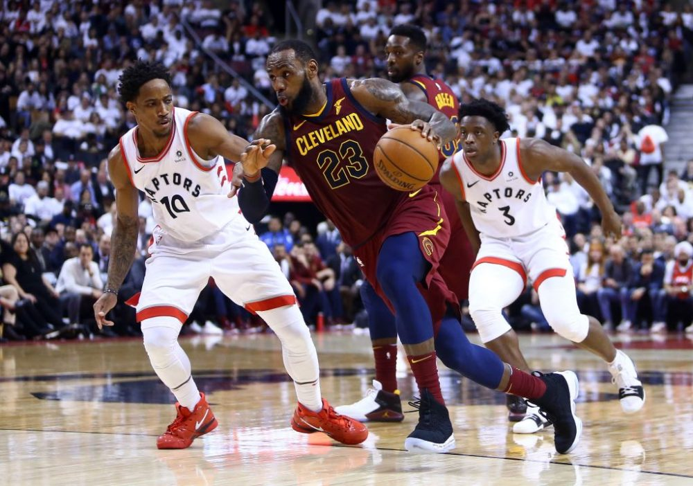 LeBron James eluded many defenders in Game 2 of the Cavaliers-Raptors second round playoff series. James finished with 43 points, 8 rebounds and 14 assists. (Vaughn Ridley/Getty Images)