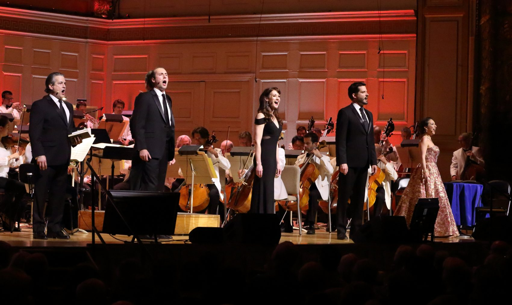 """Matthew DiBattista, Andrew Tighe, Aimee Doherty and David McFerrin perform music from Leonard Bernstine's """"Candide"""" with the Boston Pops on May 5, 2018. (Courtesy Hilary Scott)"""