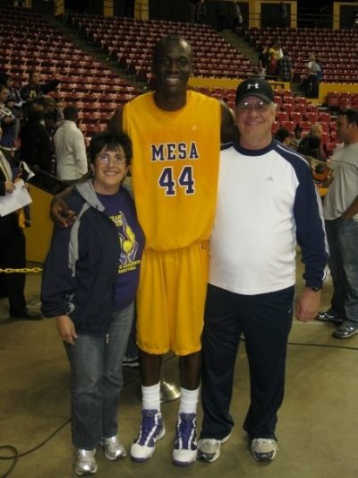 Mesa Jackrabbit Blondy Baruti with his Arizona family, Laurie and Terry Blitz. (Courtesy Blondy Baruti)