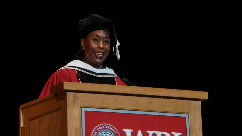 "Margot Lee Shetterly, author of the book ""Hidden Figures: The American Dream and the Untold Story of the Black Women Mathematicians Who Helped Win the Space Race,"" speaks at Worcester Polytechnic Institute's 2018 commencement ceremony on Saturday, May 12."