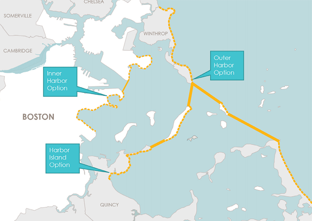 Three Boston Harbor barrier proposals were suggested in the city's Climate Ready Boston report. The UMass report focused its analysis on the inner and outer harbor options. (Courtesy)