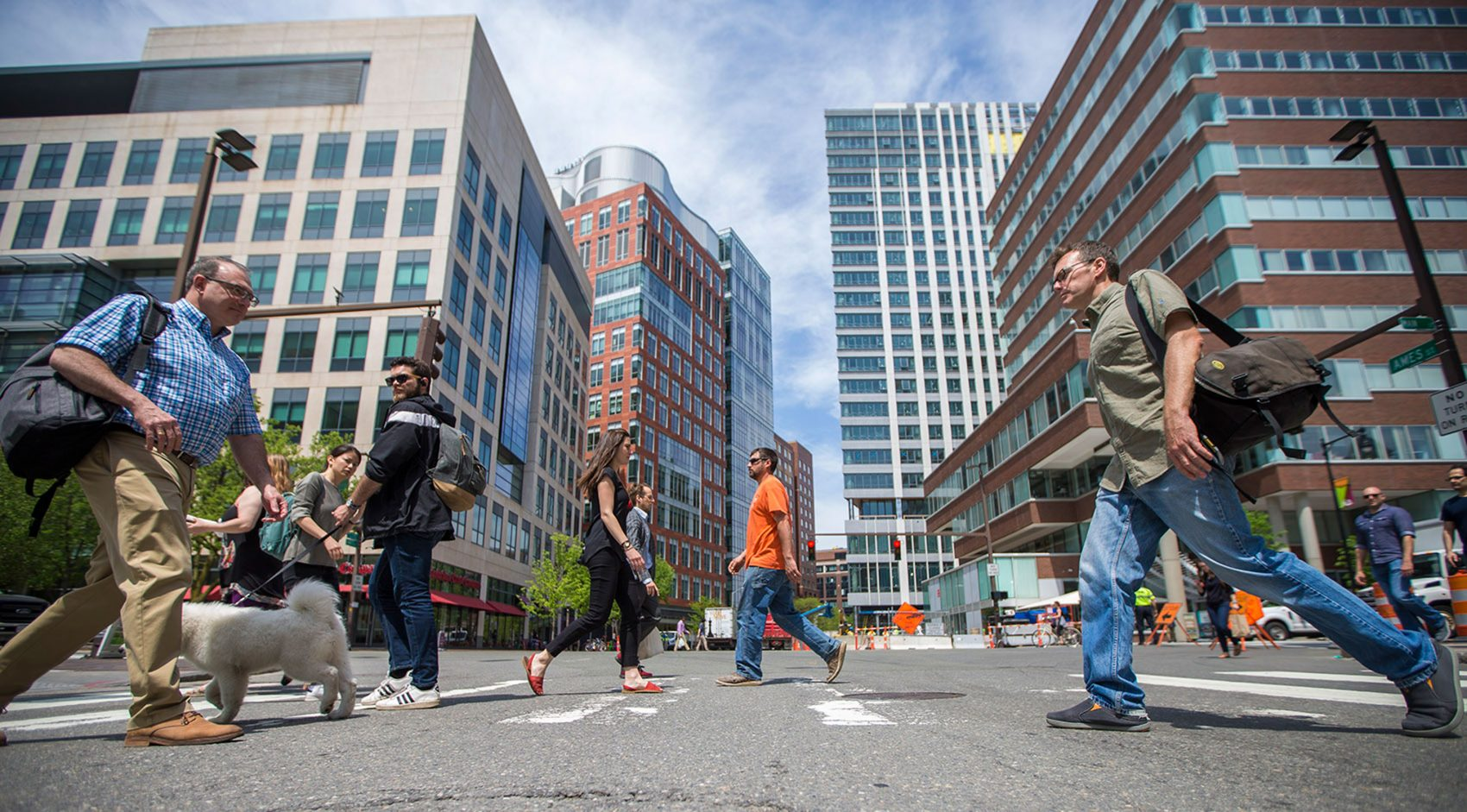 Kendall Square in Cambridge, home to hundreds of technology and life science companies, is among the business centers most affected by a new law governing noncompete agreements. (Jesse Costa/WBUR)