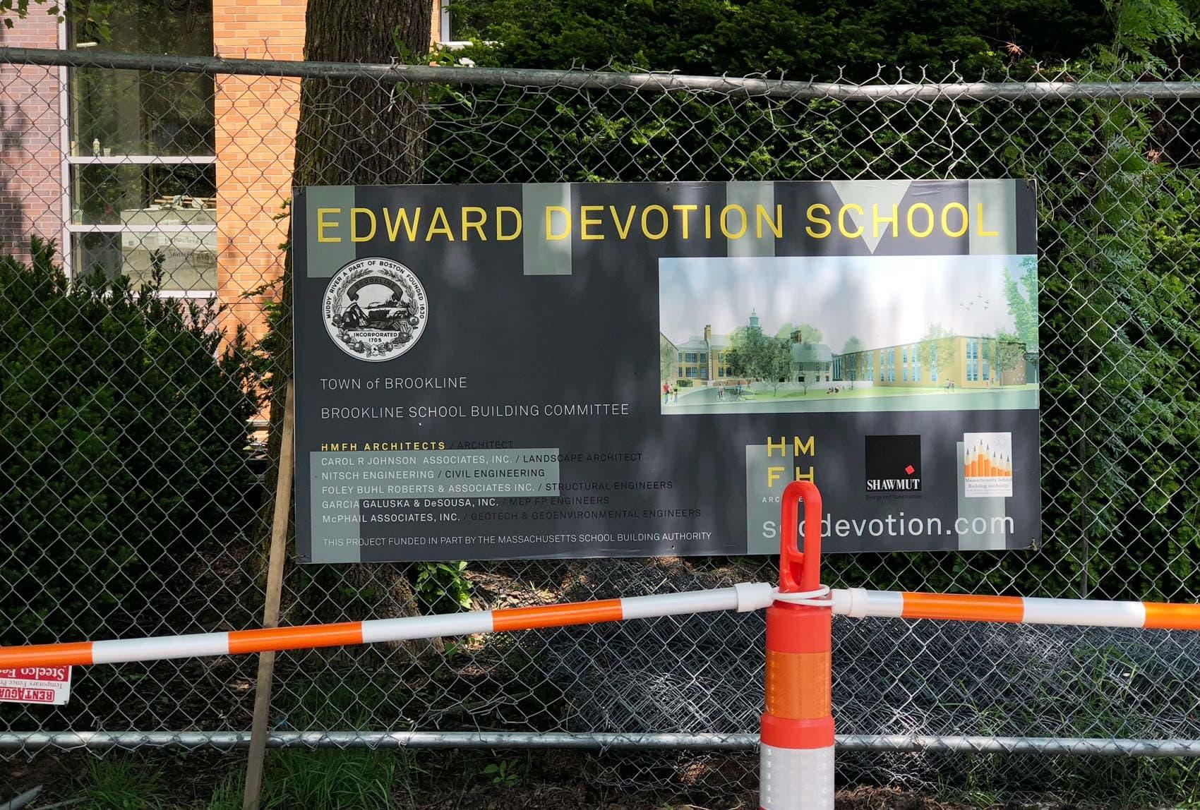 For now, Brookline's Edward S. Devotion School is under construction. (Max Larkin/WBUR)