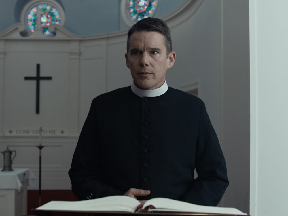 "Ethan Hawke gives the performance of his career as Reverend Ernst Toller in ""First Reformed,"" according to critic Sean Burns. (Courtesy A24)"