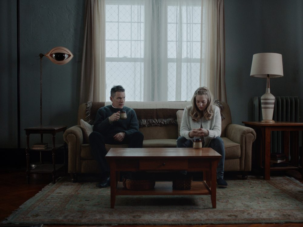 "Ethan Hawke as Reverend Ernst Toller with Amanda Seyfried as Mary in ""First Reformed."" (Courtesy A24)"