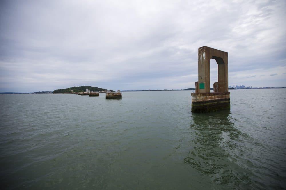 The remnants of Long Island Bridge looking toward Moon Island (Jesse Costa/WBUR)