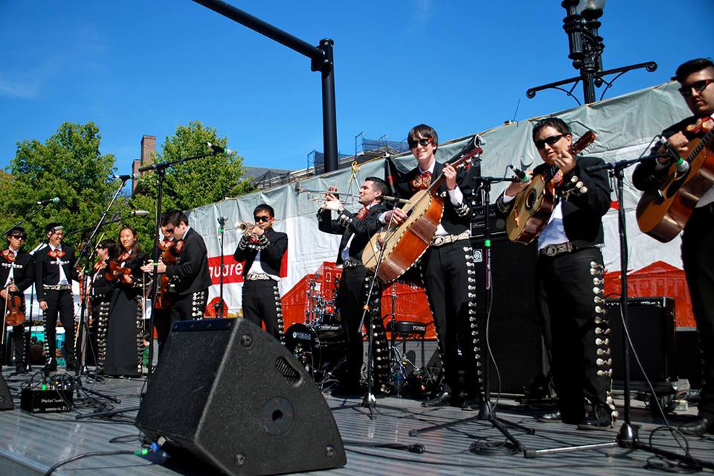 A mariachi group performs in Harvard Square at a previous Mayfair. (Courtesy Harvard Square)
