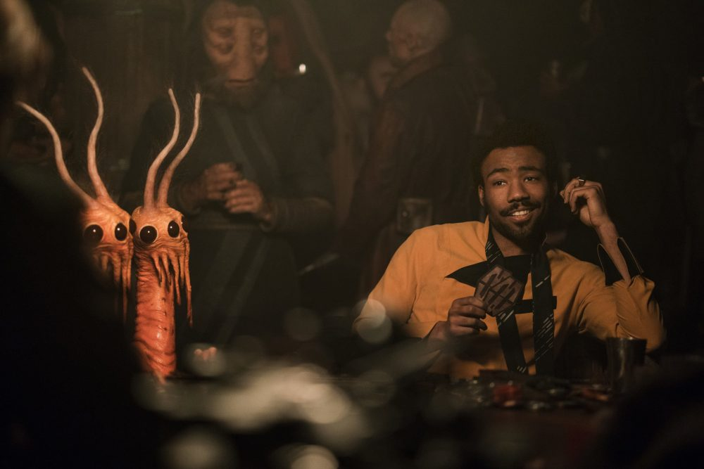 "Donald Glover, right, as Lando Calrissian in ""Solo: A Star Wars Story."" (Courtesy Lucasfilm)"
