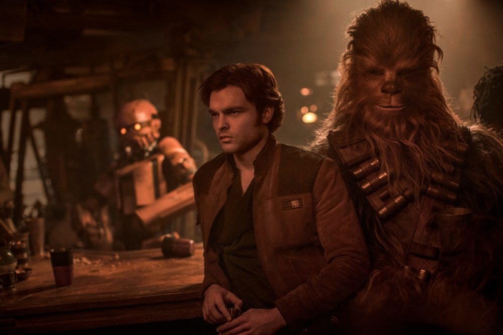 "Alden Ehrenreich as Han Solo with Joonas Suotamo as Chewbacca in ""Solo: A Star Wars Story."" (Courtesy Lucasfilm)"