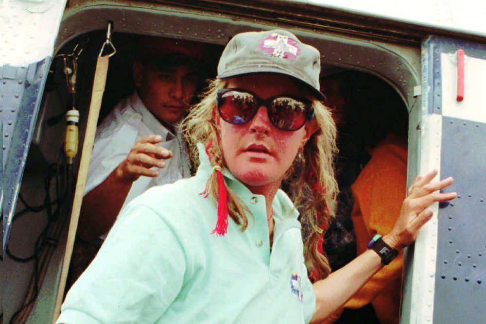 Charlotte Fox, one of the climbers of Mt. Everest arrives at Katmandu airport on Wednesday, May 15, 1996, after she and another man were evacuated by Nepalese Army helicopters. (Binod Joshi/AP)