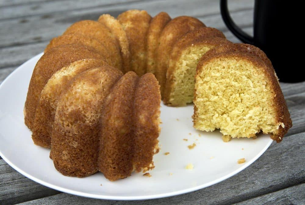 Chef Kathy Gunst's sour cream lemon bundt cake. (Robin Lubbock/WBUR)