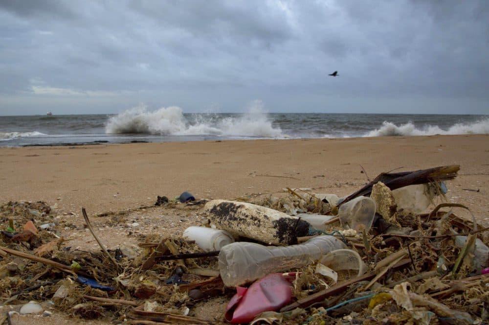 In this Aug. 13, 2015, file photo, a plastic bottle lies among other debris washed ashore on the Indian Ocean beach in Uswetakeiyawa, north of Colombo, Sri Lanka. (Gemunu Amarasinghe/AP)