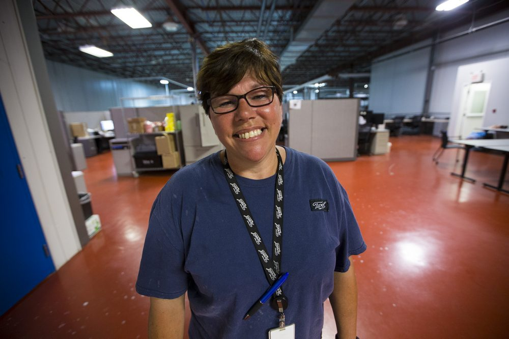 Nancy Evoy worked in the plant for 12 years when it was run by the The Hershey Company. Coming to Canopy was something of a homecoming. (Jesse Costa/WBUR)