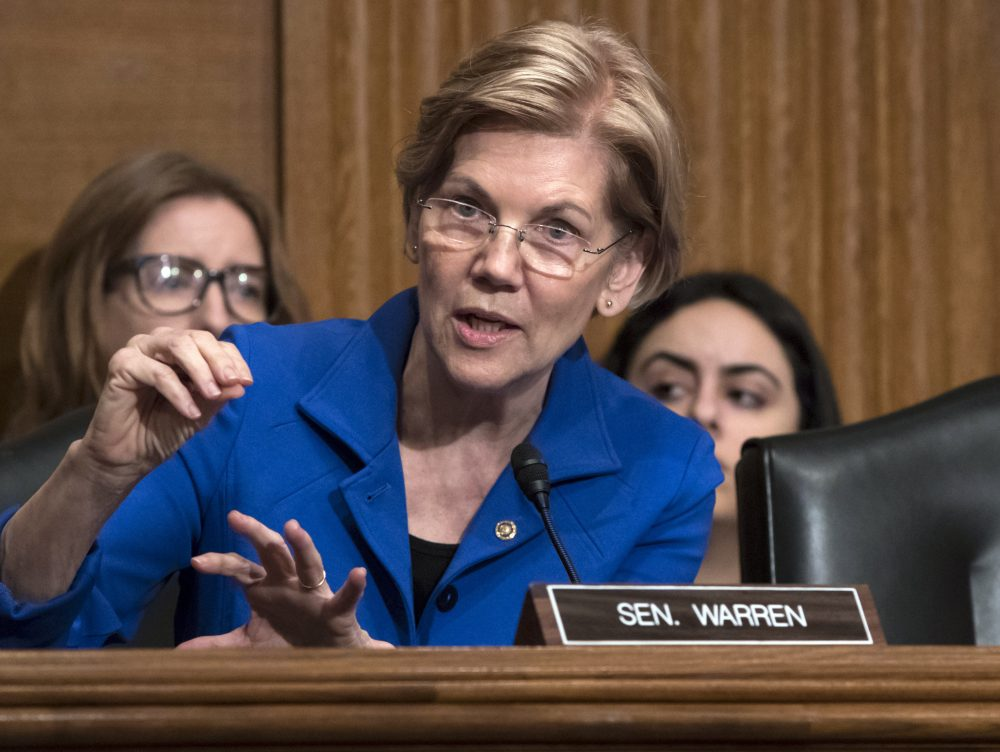 Sen. Elizabeth Warren, D-Mass., asks questions during a hearing of the Senate Health, Education, Labor, and Pensions Committee, on Capitol Hill in Washington last December. (J. Scott Applewhite/AP)