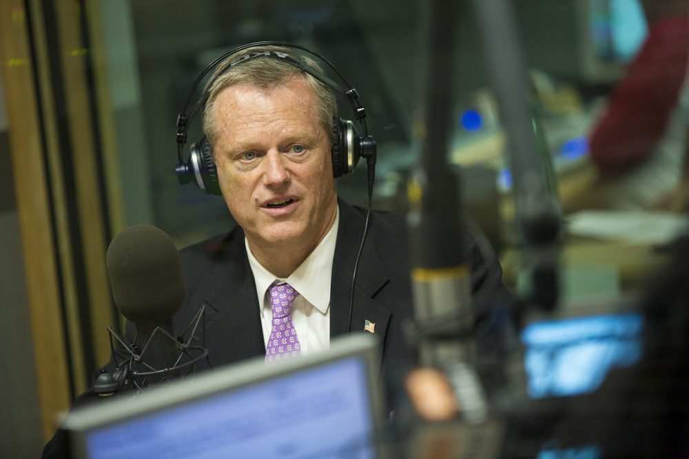 Gov. Charlie Baker in the WBUR studio on June 8, 2018 (Jesse Costa/WBUR)