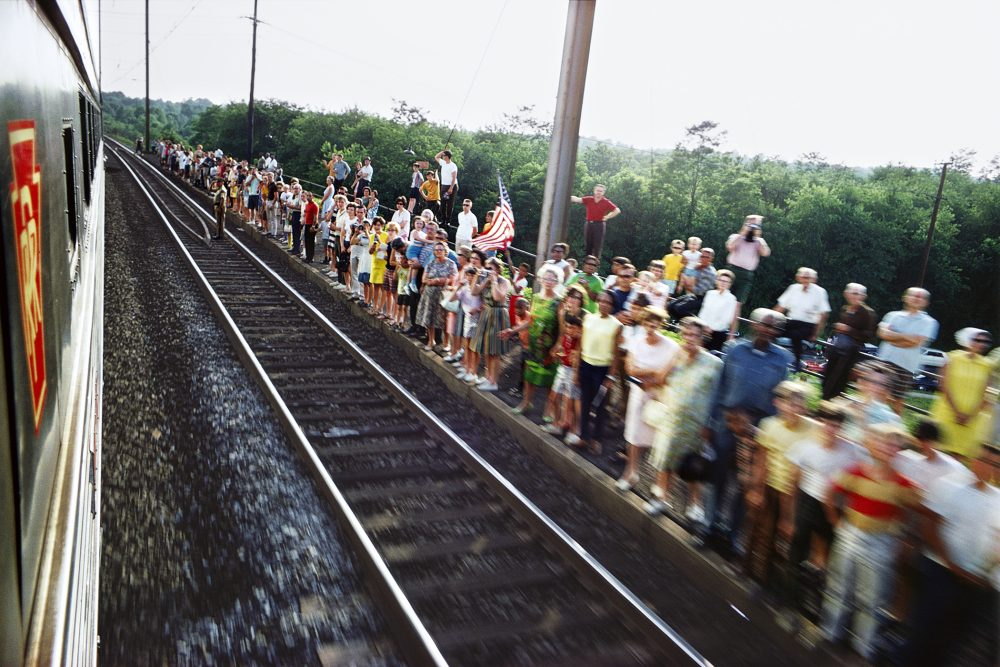 Working for Look magazine, Paul Fusco photographed from onboard the train carrying Kennedy's body from New York City to the Arlington Cemetery in Washington, D.C. (Paul Fusco/Magnum Photos)