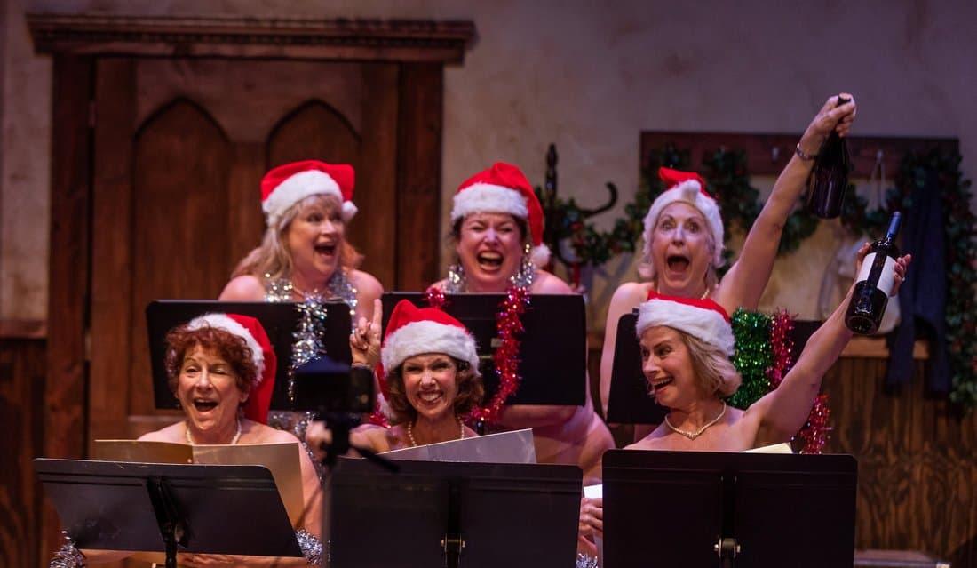 "Karen MacDonald, Kerry A. Dowling, Sarah deLima, Bobbie Steinbach, Maureen Brennan and Mary Potts Dennis in ""Calendar Girls."" (Courtesy Nile Scott Shots)"