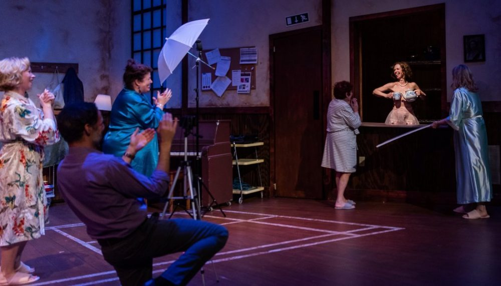 "Nael Nacer (as Lawrence), Kerry A. Dowling, Bobbie Steinbach and Maureen Brennan in ""Calendar Girls."" (Courtesy Nile Scott Shots)"