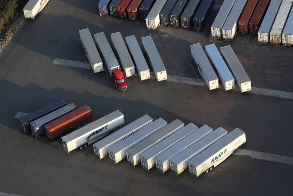 Freight trucks, as seen from a helicopter, wait for use near the Otay Mesa port of entry on May 11, 2017 in San Diego, California. (John Moore/Getty Images)