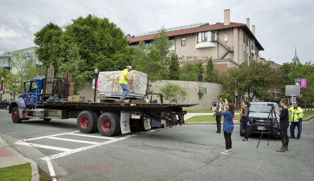 The moving crew loads the Farnese Sarcophagus onto a truck to drive it around to the rear entrance of the Isabella Stewart Gardner Museum. (Robin Lubbock/WBUR)