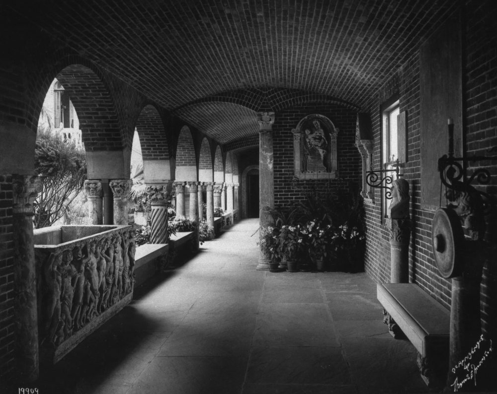 An archival image of the Farnese Sarcophagus in its usual spot in the Gardner's courtyard. (Courtesy Sarah Whitling/Isabella Stewart Gardner Museum)