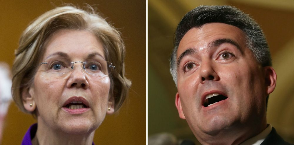 Sen. Elizabeth Warren (D-Mass.) and Sen. Cory Gardner (R-Colo.). (Tasos Katopodis and Mark Wilson/Getty Images)