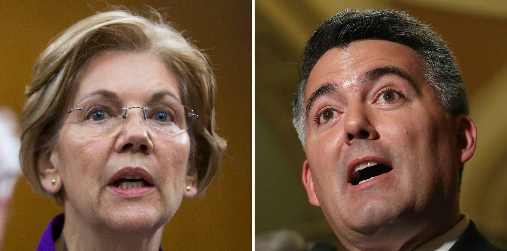 Sen. Elizabeth Warren (D-Mass.) and Sen. Cory Gardner (R-Colo.). (Tasos Katopodis and Mark Wilson/Getty Images)