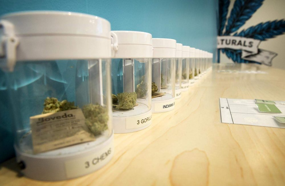 Marijuana samples at Sira Naturals Needham dispensary. (Robin Lubbock/WBUR)