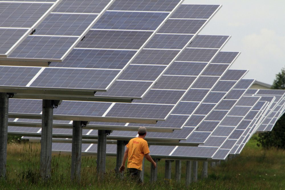 Solar trackers are seen in South Burlington, Vt., on Wednesday, July 27, 2011. Burlington is already 100 percent powered by renewables. (Toby Talbot/AP)