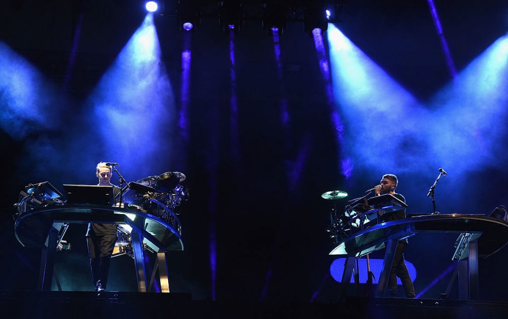 Guy (left) and Howard Lawrence of Disclosure perform onstage during Day 2 of the 2016 Coachella Valley Music & Arts Festival Weekend at the Empire Polo Club on April 16, 2016 in Indio, Calif. (Kevin Winter/Getty Images for Coachella)