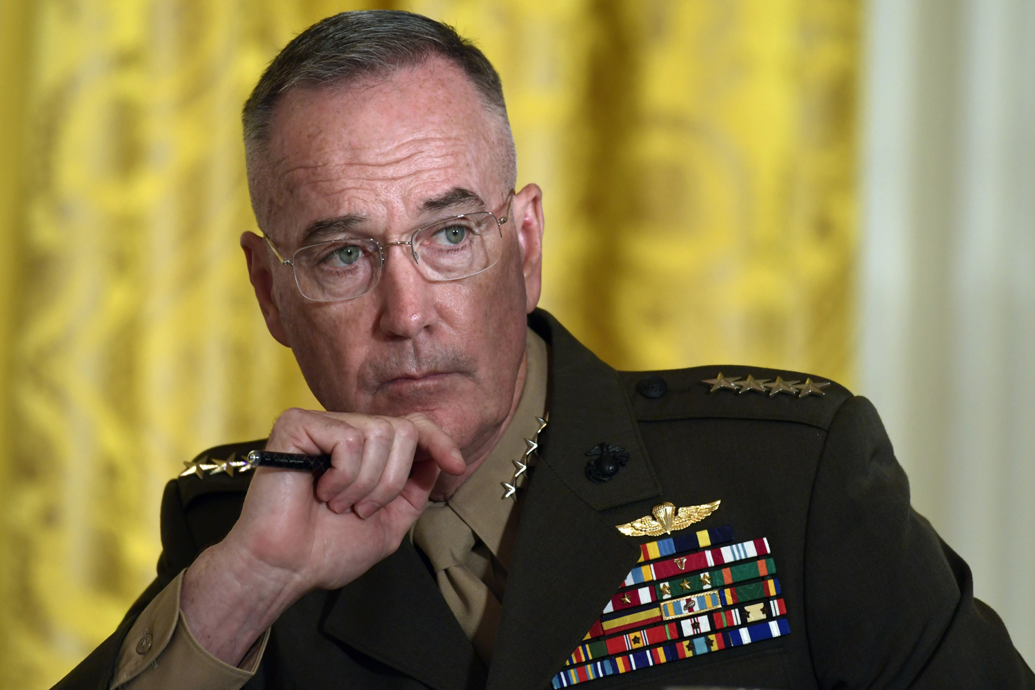 Gen. Joseph Dunford, the chairman of the Joint Chiefs of Staff, listens during the National Space Council meeting in the East Room of the White House in Washington, Monday, June 18, 2018. President Donald Trump has tasked the Defense Department to begin the process of establishing the 'Space Force' as the sixth branch of the U.S. armed forces. He said the new branch's creation will be overseen by Dunford. (Susan Walsh/AP)