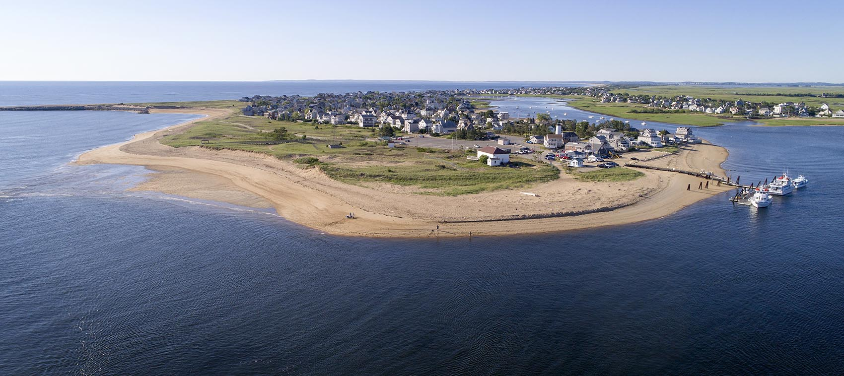 A view of the northern tip of Plum Island, looking south from the Merrimack River (Robin Lubbock/WBUR)