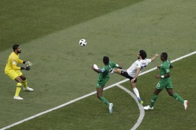 Salah's goal against Saudi Arabia on June 25th. (Themba Hadebe/AP)