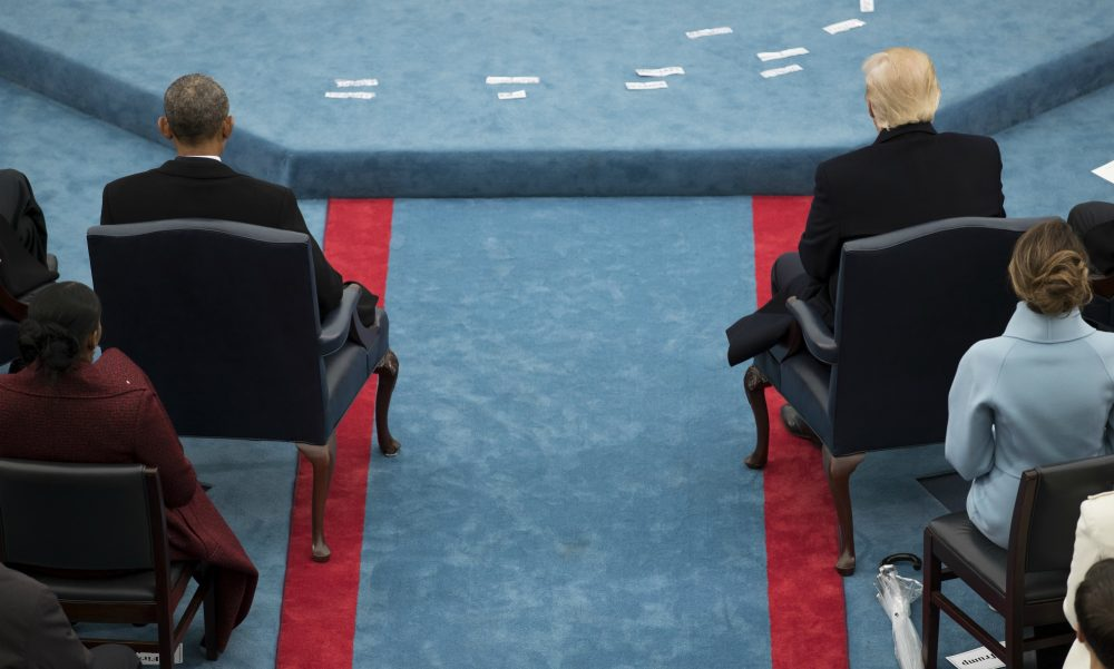 President Trump, right, and former President Obama, left, sit across the aisle from each other during the 58th Presidential Inauguration at the U.S. Capitol in Washington, Jan. 20, 2017. (Carolyn Kaster/AP)