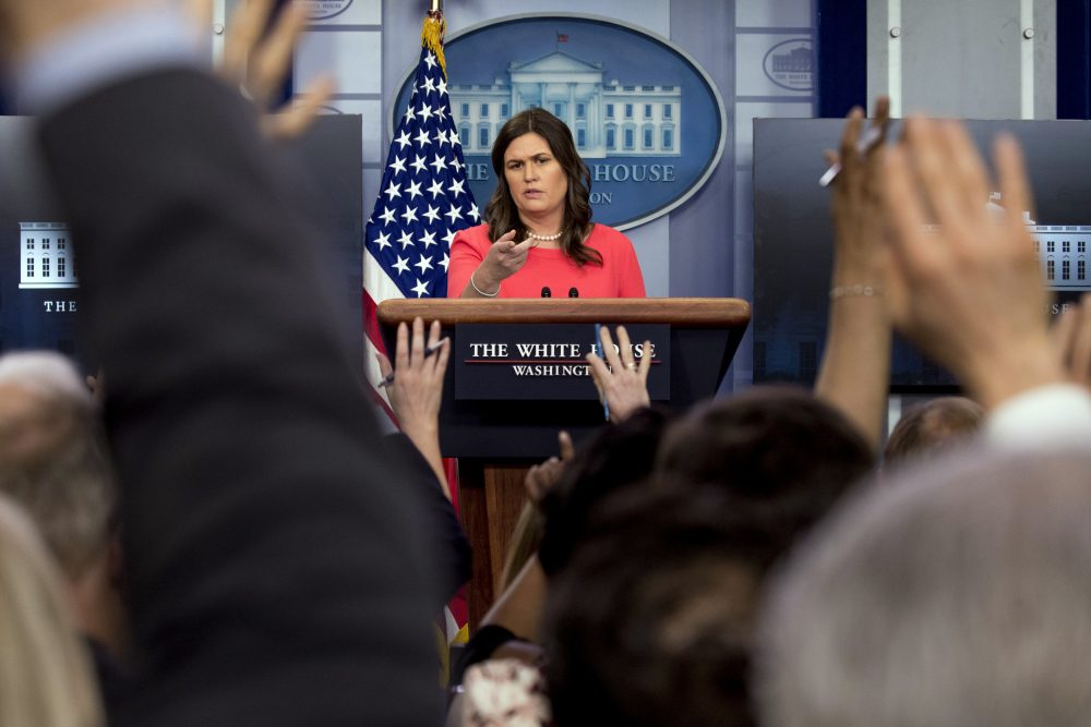 White House press secretary Sarah Huckabee Sanders calls on a member of the media during the daily press briefing at the White House, Tuesday, June 5, 2018, in Washington. (Andrew Harnik/AP)