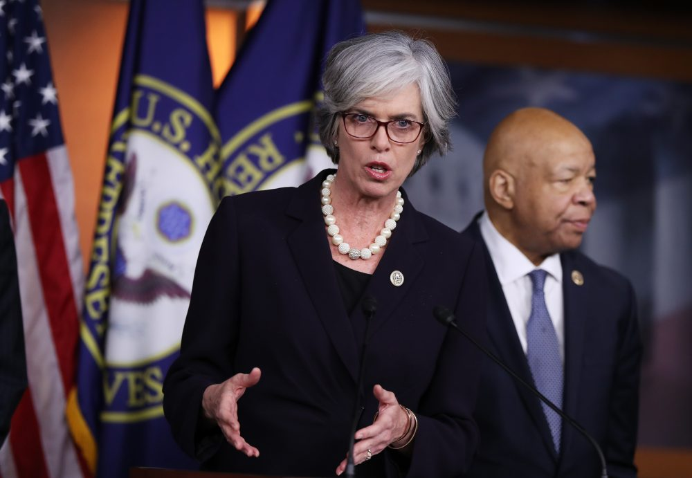 Rep. Katherine Clark speaks during a news conference on Capitol Hill on Jan. 12, 2017. (Manuel Balce Ceneta/AP)