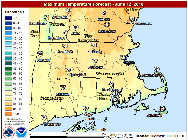 Today will be warmer than Monday with highs in the lower 80s in many spots. (Courtesy NOAA)