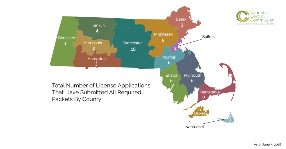 There are 51 license applicants under review by the Cannabis Control Commission as of June 5, 2018. (Courtesy of the Cannabis Control Commission)