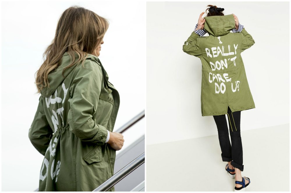L-R: First lady Melania Trump boards a plane at Andrews Air Force Base, Md., Thursday, June 21, 2018, to travel to Texas. A model wears a jacket from Zara. (Andrew Harnik/AP)