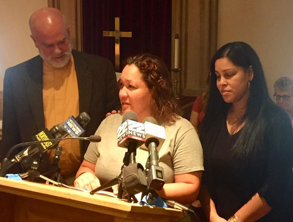 Gisella Collazo speaks about her stay of deportation at Springfield's South Congregational Church on Monday. (Alden Bourne/NEPR)