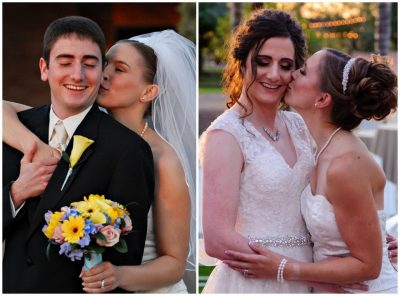 Samantha and Laura on their wedding day in 2006, left, and on their vow renewal day, right. (Courtesy photo)