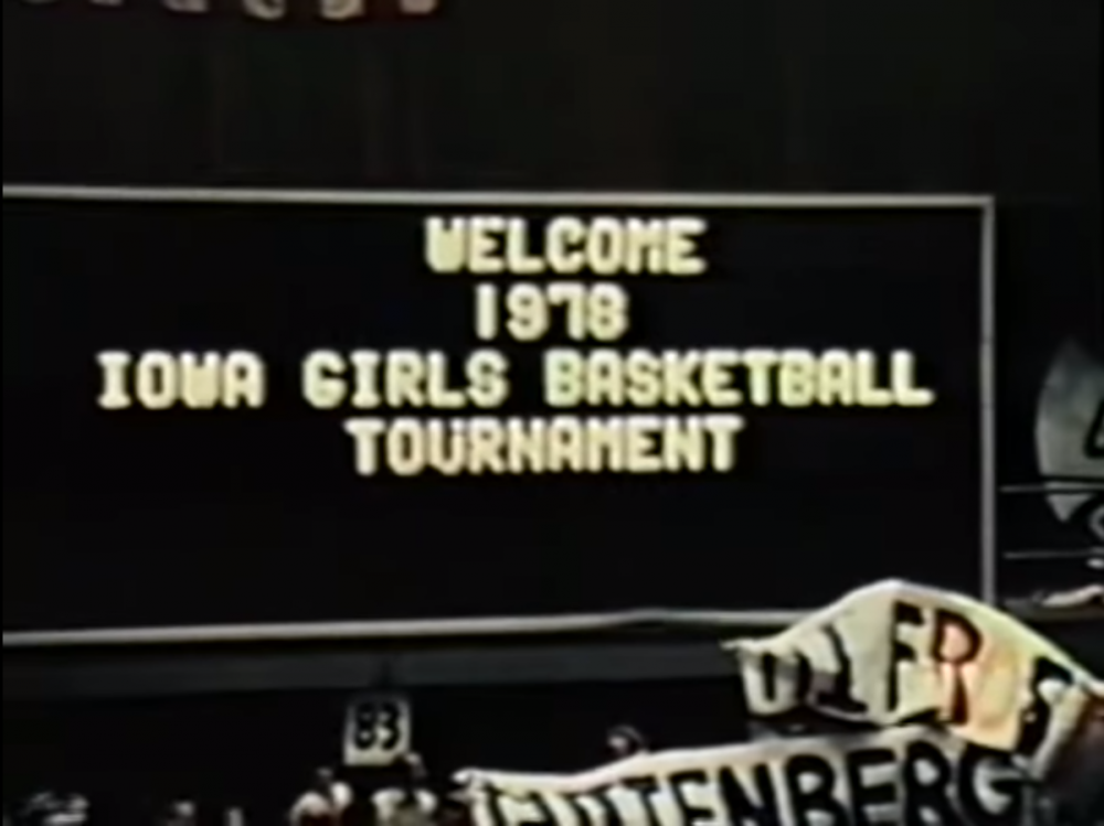 The 1970s marked the heyday of six-on-six girls' high school basketball in Iowa. Pictured: Tina Koepnick's Ankeny team beat Lake View-Auburn 78–69 in the 1978 Championship. (Courtesy Jason Eslinger)